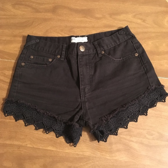 Free People Pants - Free People Black Denim Lace Trimmed Shorts 26